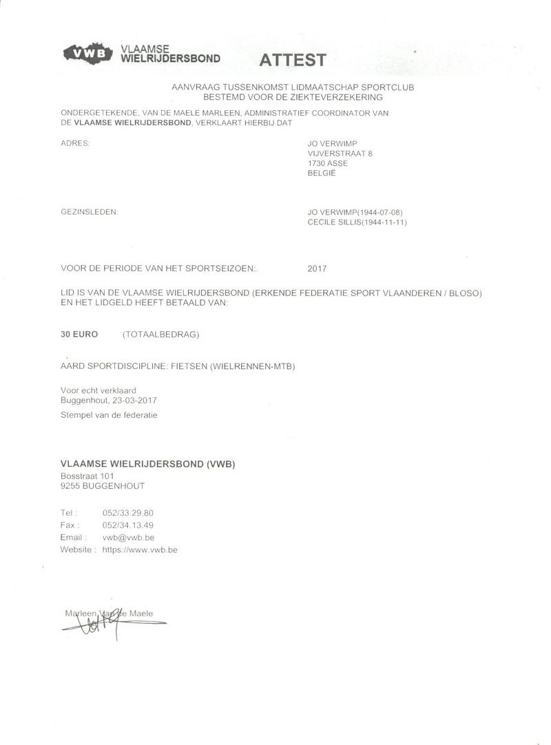 Assurances : Vlaamse Wielrijdersbond Mutual10