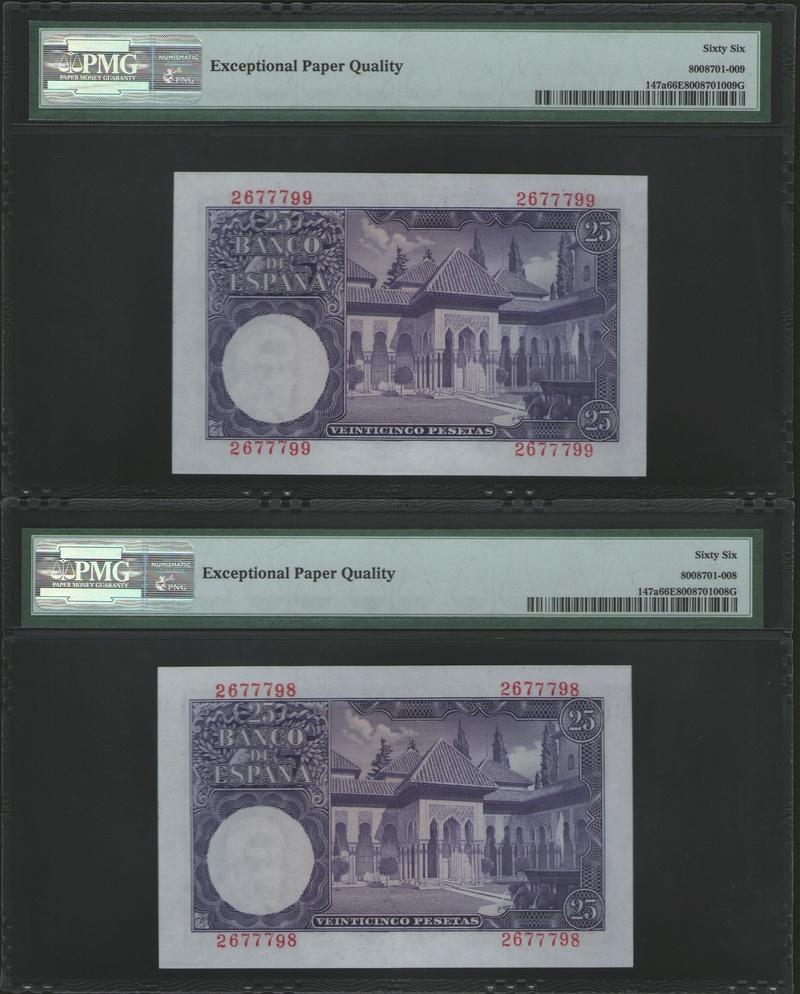 Pareja Correlativa 25 pesetas Sin Serie Issac Albeniz 1954 PICK 147a Pareja13