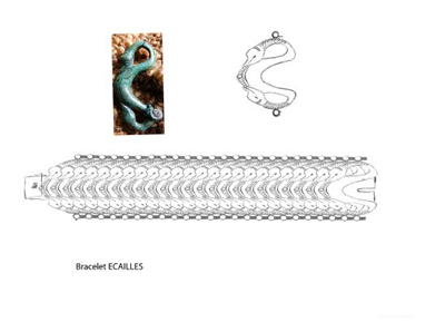 Bracelet Ecailles pour le Musée de Haguenau en Alsace Dessin10