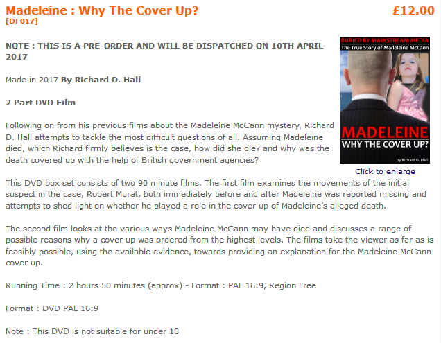 *NEW!* PART 1, 'ROBERT MURAT & PART 2, 'WHY THE COVER-UP?' UPLOADED 7 April 2017, see thread  (WAS: Richard D. Hall's new film: 'Madeleine: Why the cover up?' now online for pre-order) 113