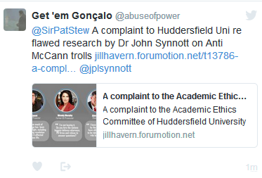 A complaint to the Academic Ethics Committee of Huddersfield University (and others) about a research paper by Dr John Synnott on 'Anti-McCann Trolls'  114
