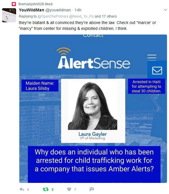 Laura Gayler arrested for child trafficking now works for company that issues 'Amber Alerts' 121