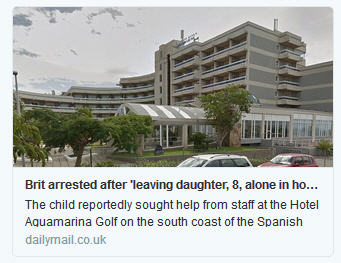 Not a doctor:  British tourist, 52, is arrested after 'leaving his eight-year-old daughter alone in Tenerife hotel to go drinking' Brit10