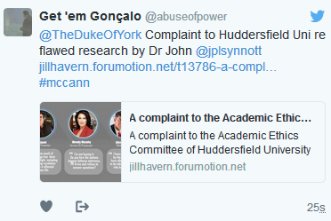 A complaint to the Academic Ethics Committee of Huddersfield University (and others) about a research paper by Dr John Synnott on 'Anti-McCann Trolls'  Hrh10