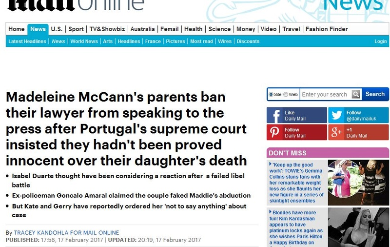 Daily Mail says Madeleine McCann is DEAD ( in an article by Tracey Kandohla! ) - 18 Feb 2017  Kandoh10