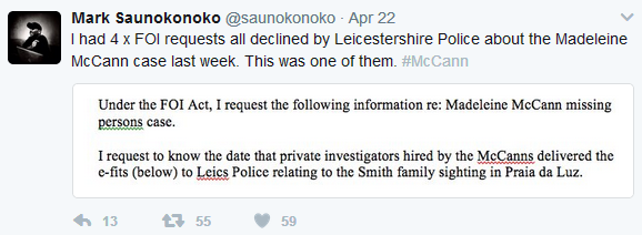 FOI requests from Mark Saunokonoko to Leicester Police refused Mark_s10