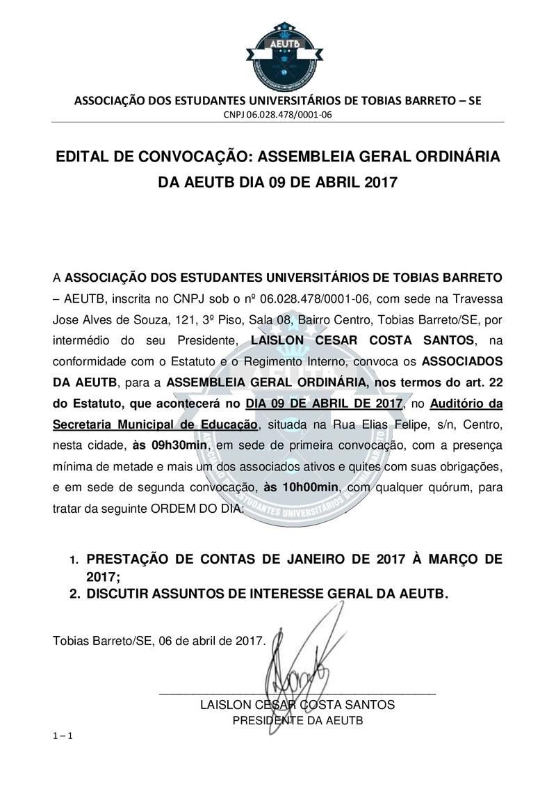 EDITAL DE CONVOCAÇÃO: ASSEMBLEIA ORDINÁRIA DA AEUTB DIA 09-04-2017 Edital10