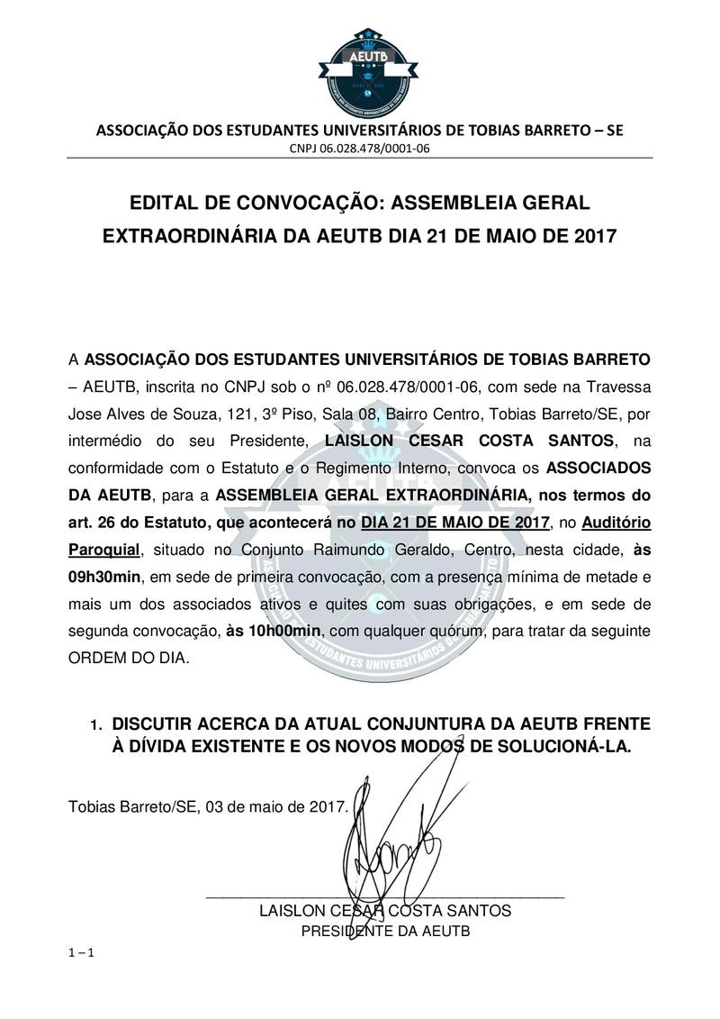 EDITAL DE CONVOCAÇÃO: ASSEMBLEIA GERAL EXTRAORDINÁRIA DA AEUTB DIA 21 DE MAIO DE 2017 Edital11