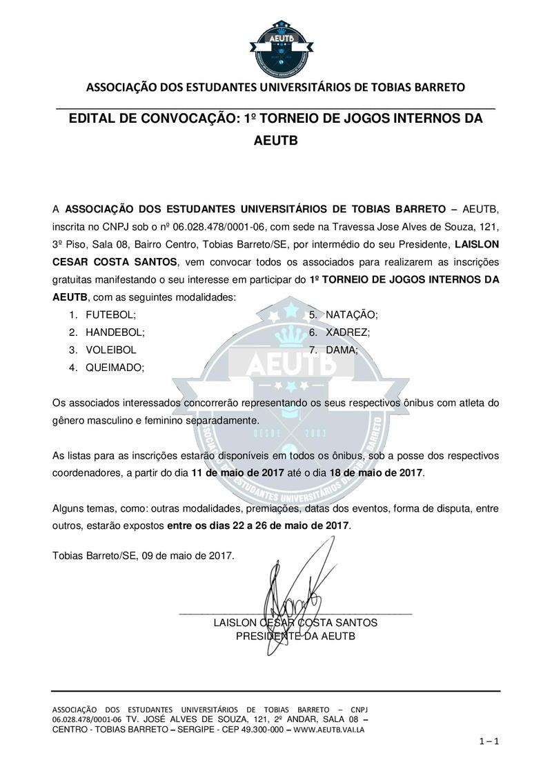 EDITAL DE CONVOCAÇÃO PARA INTERESSADOS EM PARTICIPAR DO TORNEIO Edital12