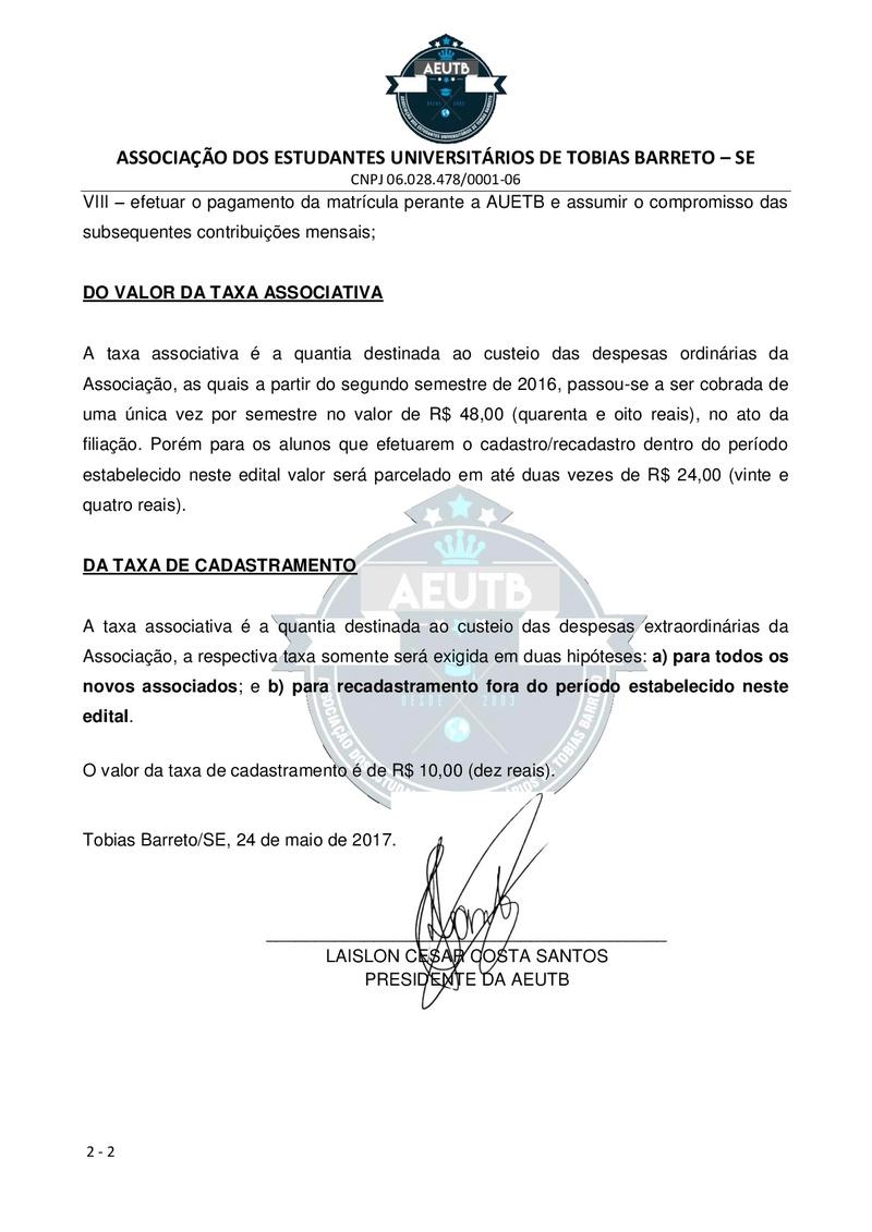 EDITAL DE CONVOCAÇÃO FILIAÇÃO - UFS SÃO CRISTÓVÃO Edital13