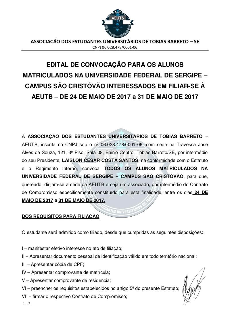 EDITAL DE CONVOCAÇÃO FILIAÇÃO - UFS SÃO CRISTÓVÃO Edital14