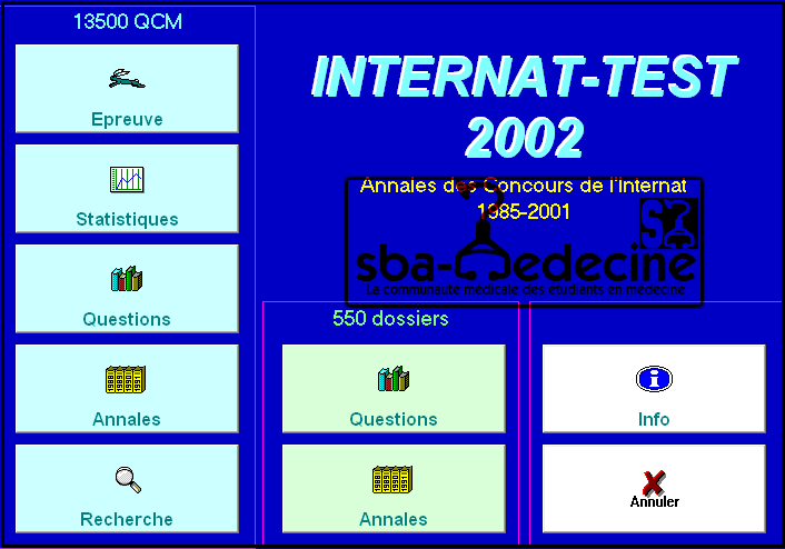 """LOGICIEL"""" DIAGEST"""" ou """" internat test"""" 13 500 Qcm et 550 Dossiers  Intern10"""