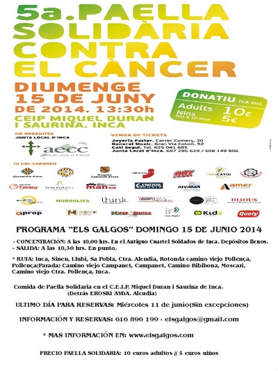 5ª PAELLA SOLIDARIA CONTRA EL CANCER EN INCA Cartel10