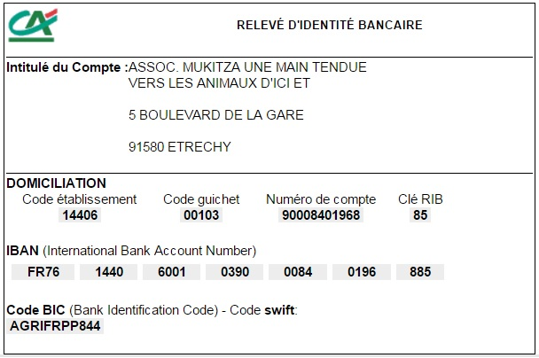 Compte bancaire de l'Association Rib_ca10