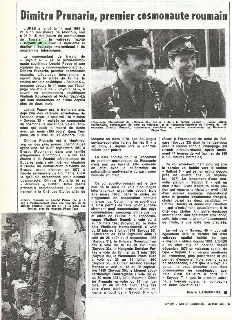 14 mai 1981-Soyouz 40 - 1er Roumain Dumitru D. Prunariu 81052310