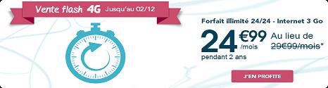 Vente flash offre forfait 4G: -5€  sur Sensation 3Go pendant 24 mois 13856610