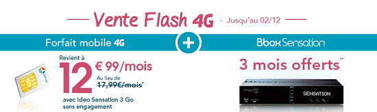 Vente flash offre forfait 4G: -5€  sur Sensation 3Go pendant 24 mois Bouygu11