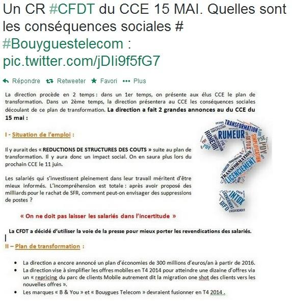 Bouygues Telecom et B&YOU préparent la fusion des marques selon la CFDT Cfdt10
