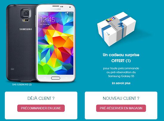 Pré-reservez votre Samsung Galaxy S5 dès aujourd'hui et recevez un cadeau Gs5prc10