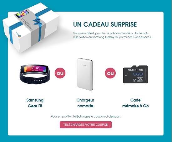 Pré-reservez votre Samsung Galaxy S5 dès aujourd'hui et recevez un cadeau Gs5pre10