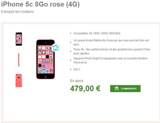 iPhone 5C 8Go disponible à partir de 49.90€ avec abonnement ou 479€ seul Iphone10