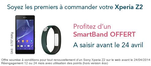 Un SmartBand offert pour le renouvellement d'un Xperia Z2 avant le 24/04 Xperia10