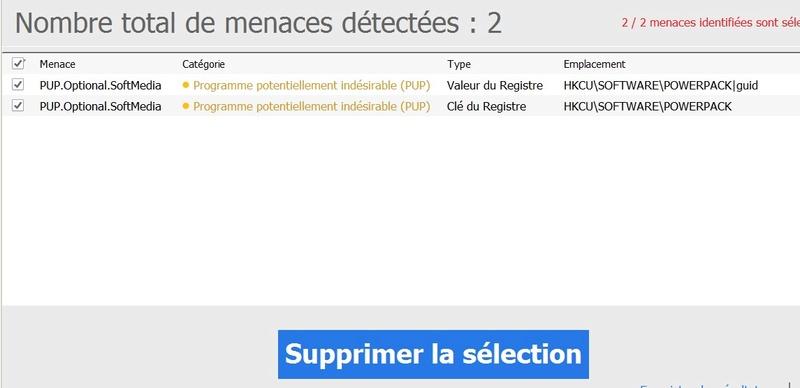 Indésirables détectés Mbam310