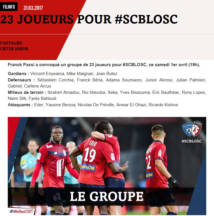 J31 / Jeu des pronos - Prono Bastia-Lille S20