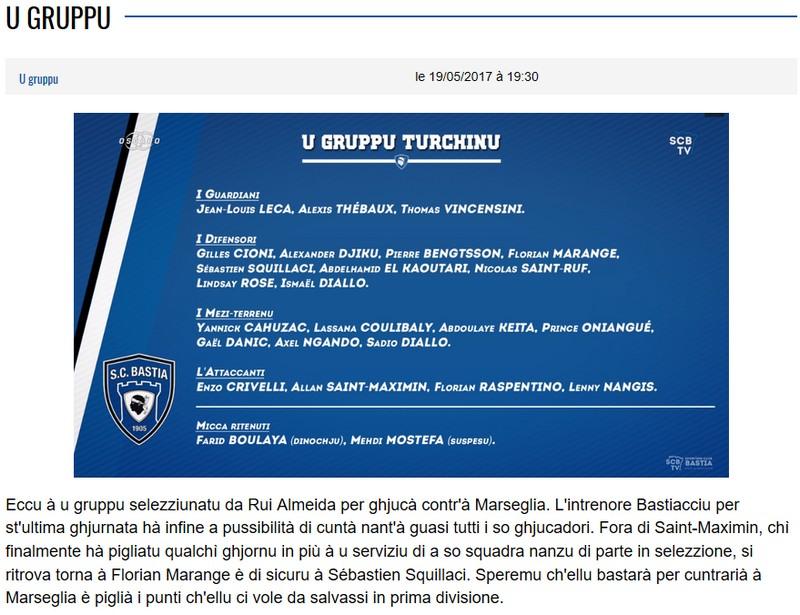 J38 / Jeu des pronos - Prono Marseille-Bastia S34
