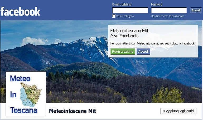 Il tempo in Toscana su MeteoInToscana Facebook Meteoi10