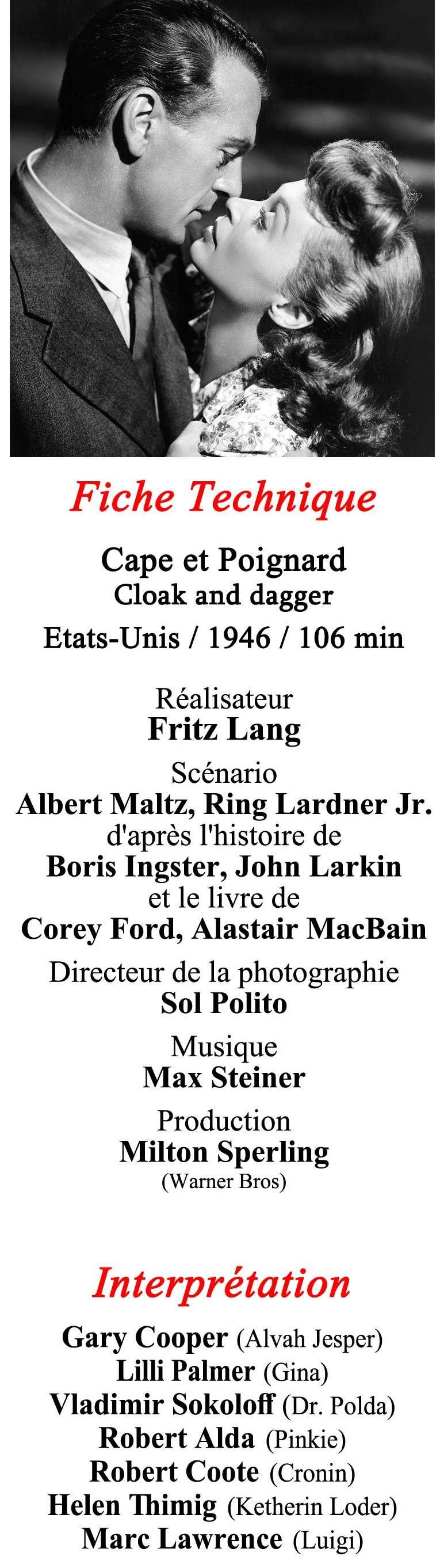 Cape et poignard. Cloak and Dagger. 1946. Fritz Lang. Verso-10