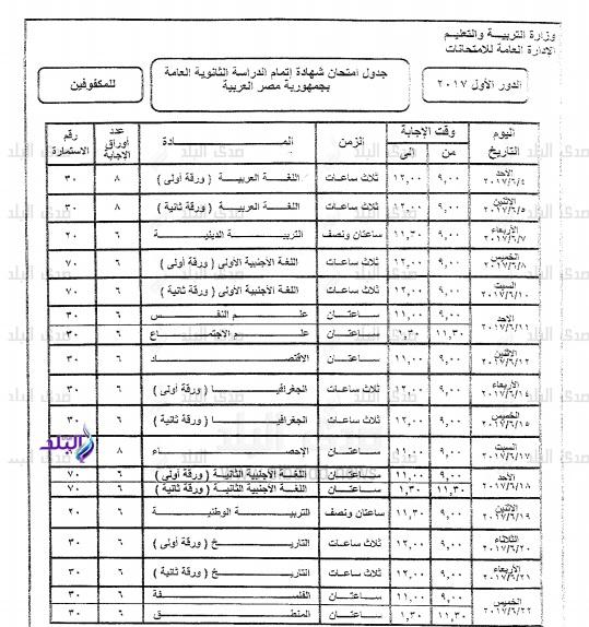 ننشر النسخة النهائية الرسمية لجداول امتحانات الثانوية العامة 2017 كل الشعب بعد اعتمادها من الوزير اليوم 210