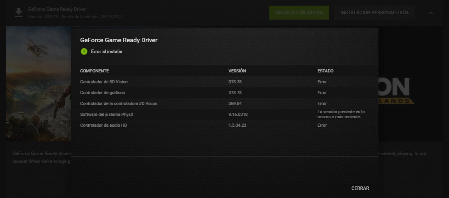 Problemas al instalar drivers Grafica GeForce GTX 1050 Ti 4gb 210