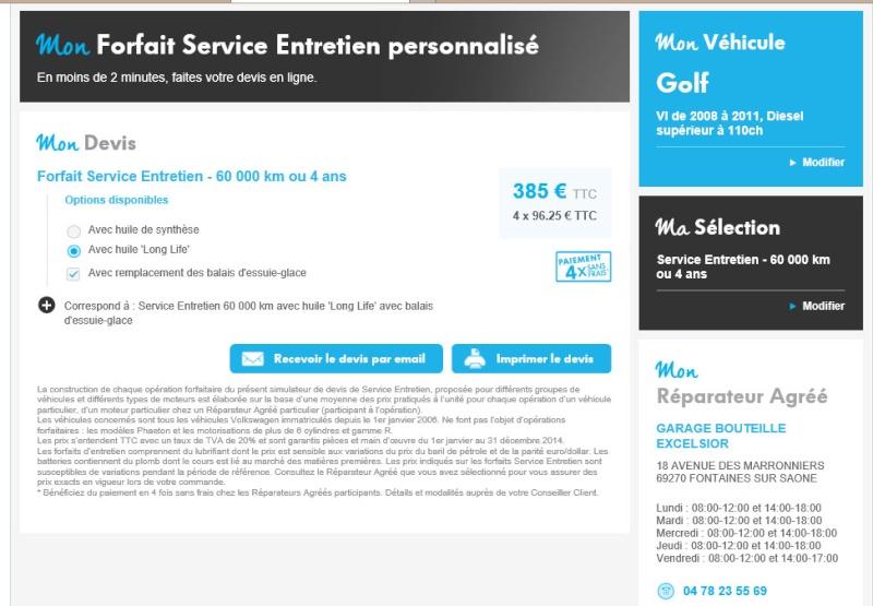 Forfait Service Entretien Personnalisé 310