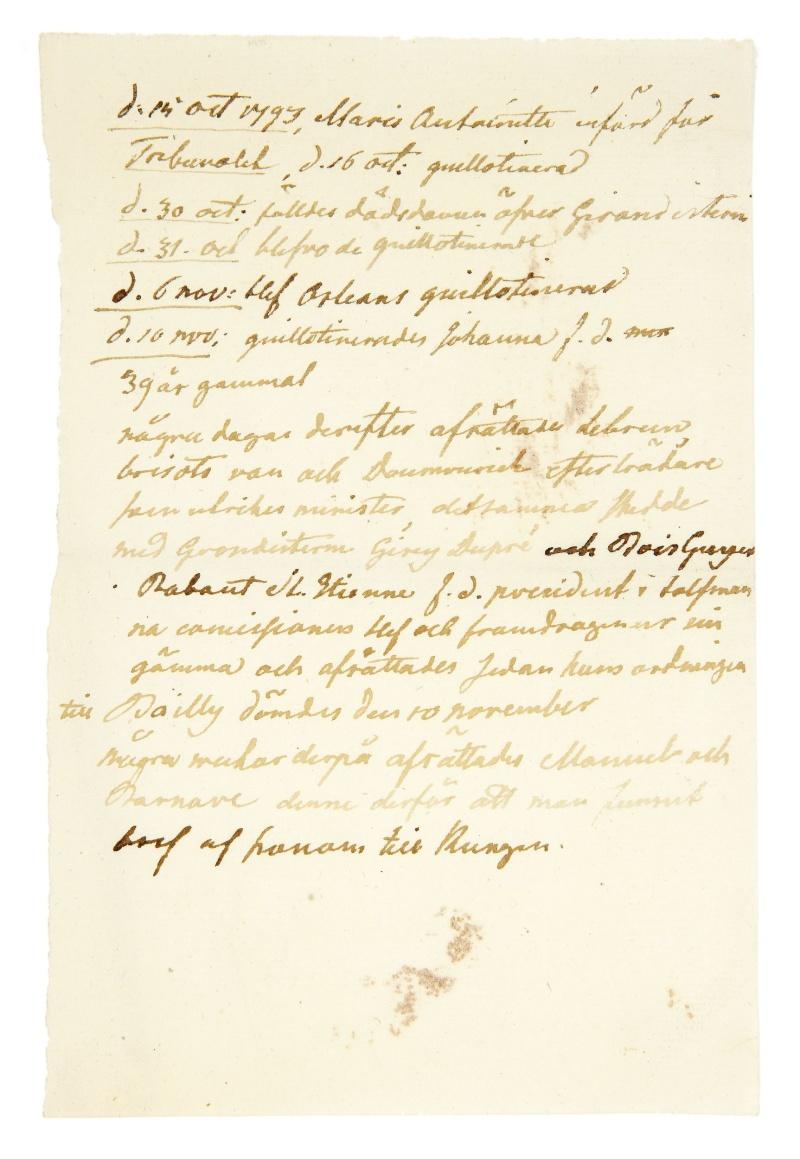 Lettres, mots, notes et extraits du journal d'Axel de Fersen 6429-110