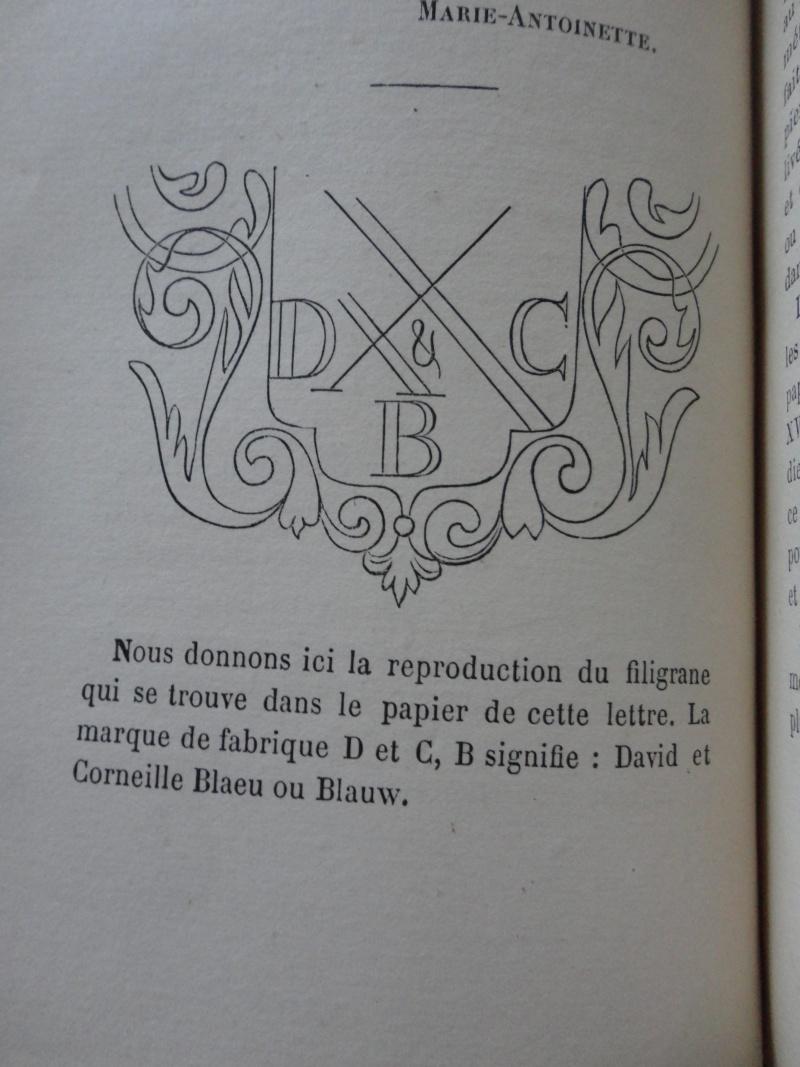 Correspondance de Marie-Antoinette : Le filigrane du papier utilisé par la reine  Dsc02112