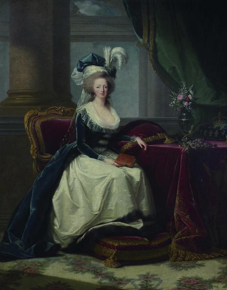 Portraits de Marie-Antoinette au livre, en robe bleue, par Vigée Le Brun (1785 - 1788 ?) Image_12
