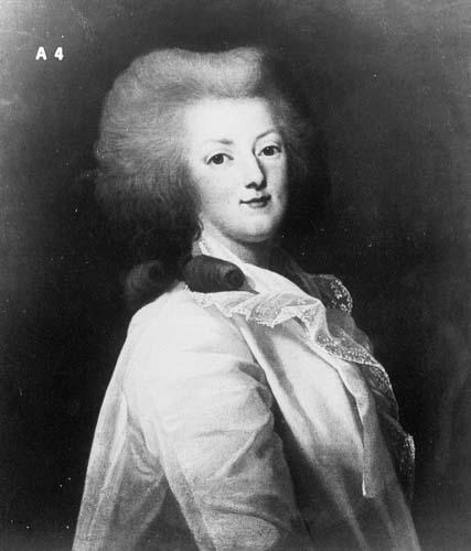 wertmuller - Marie-Antoinette en habit de chasse, ou chemise blanche, par Wertmüller (1788) Marie111