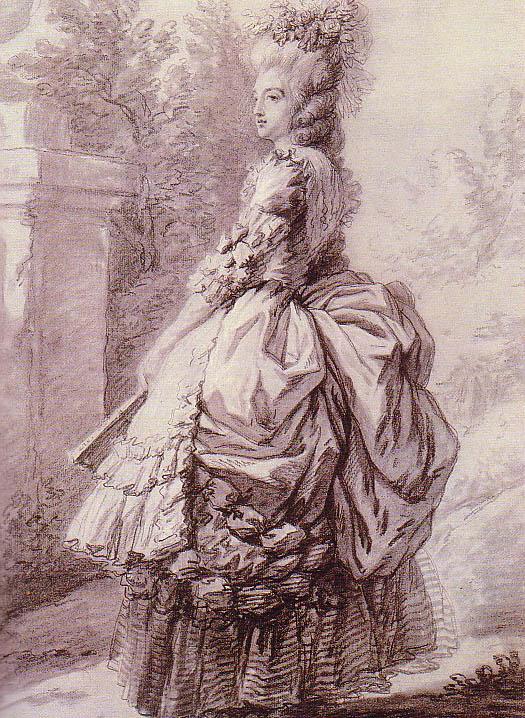 Vigée - Dessin de Marie-Antoinette dans le parc de Versailles, par Elisabeth Vigée Le Brun Vlbmac10