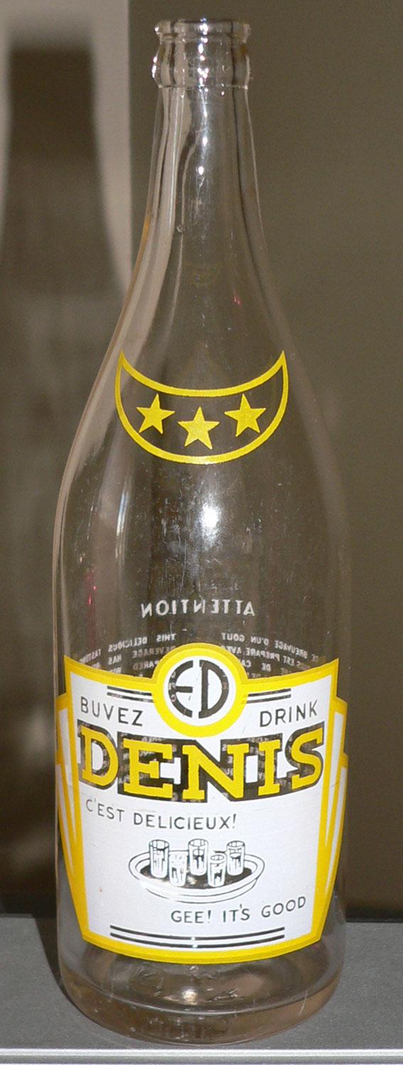 Bouteille de liqueur E. DENIS - Montréal / ACL jaune et blanc - 30oz Denisj10