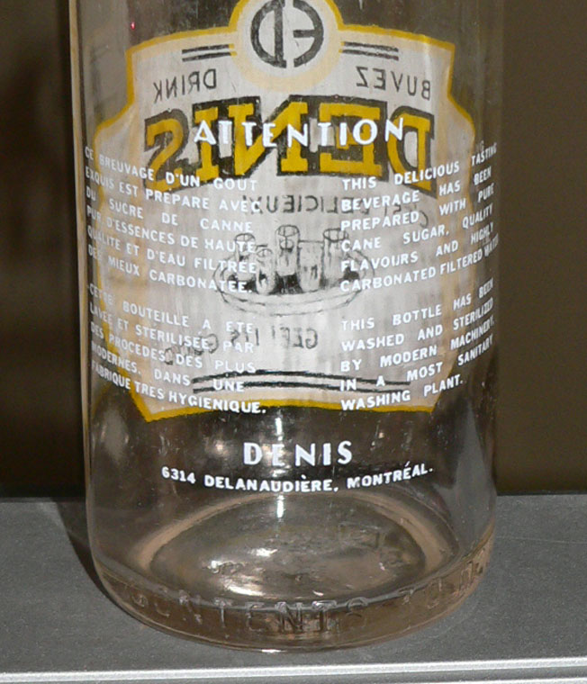 Bouteille de liqueur E. DENIS - Montréal / ACL jaune et blanc - 30oz Denisj11