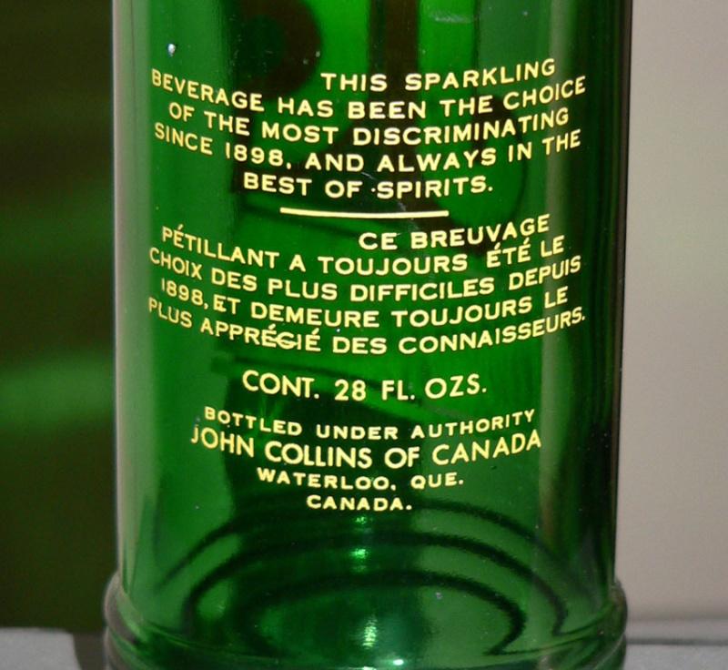 """Bouteille de liqueur ACL """"John Collins"""" verte - format 28oz - Waterloo, Quebec John-c11"""