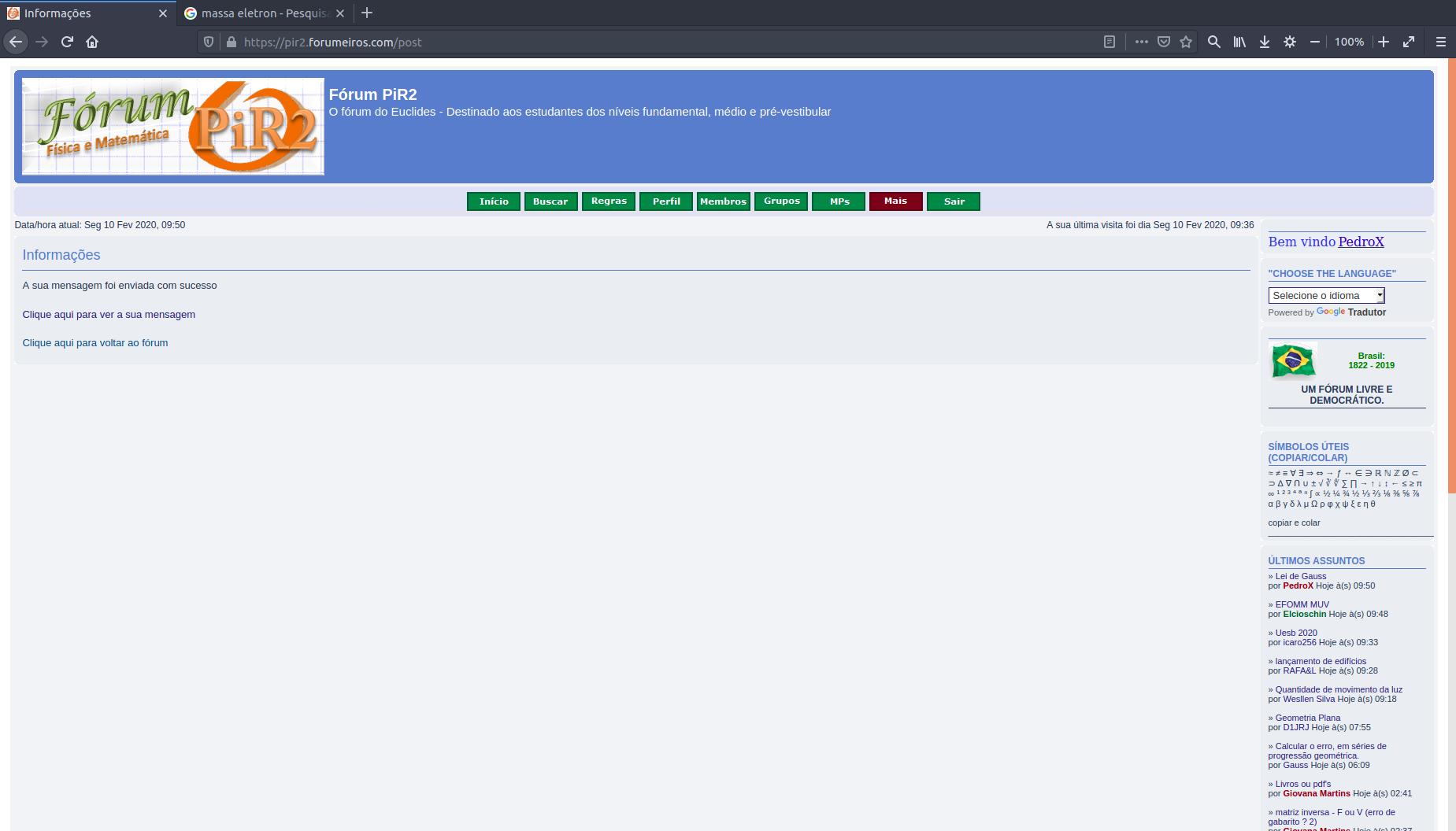 [Manual PiR2] Como postar um tópico no fórum 1110