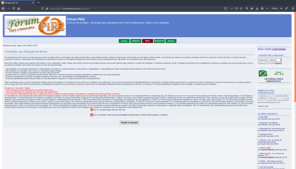 [Manual PiR2] Como criar uma conta e logar no fórum 210
