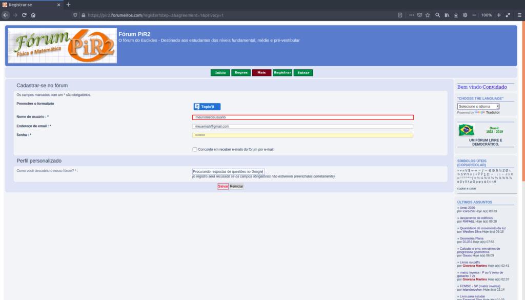 [Manual PiR2] Como criar uma conta e logar no fórum 310