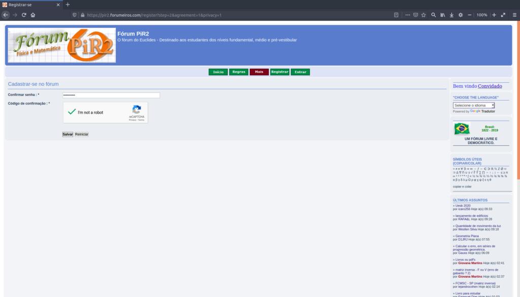 [Manual PiR2] Como criar uma conta e logar no fórum 410