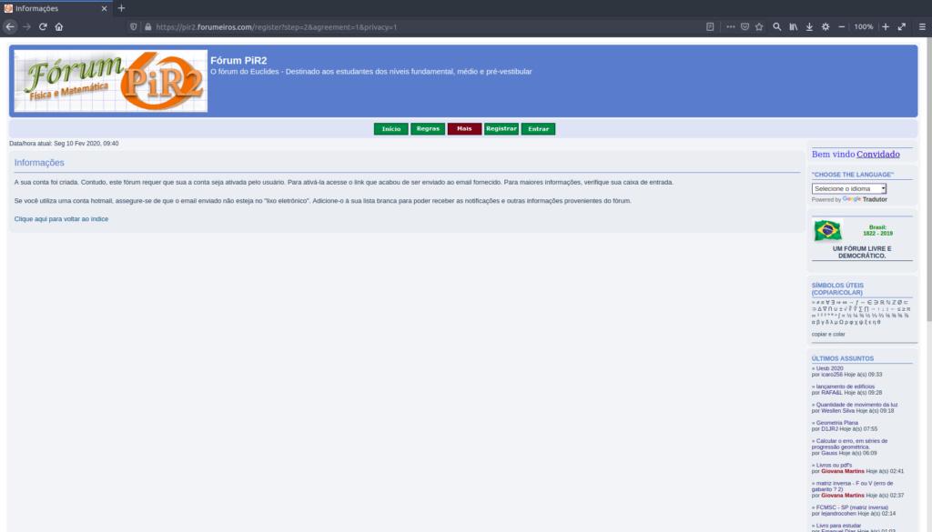 [Manual PiR2] Como criar uma conta e logar no fórum 510