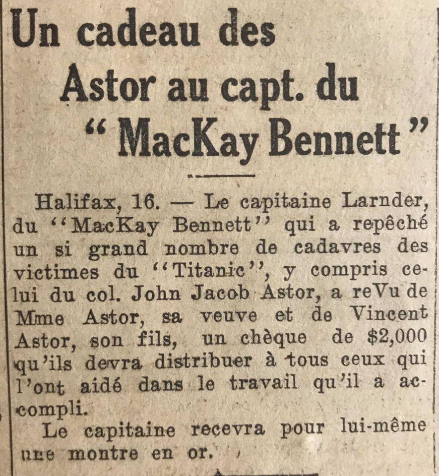 Le naufrage du Titanic fait la une des journaux - Page 11 Devoi529