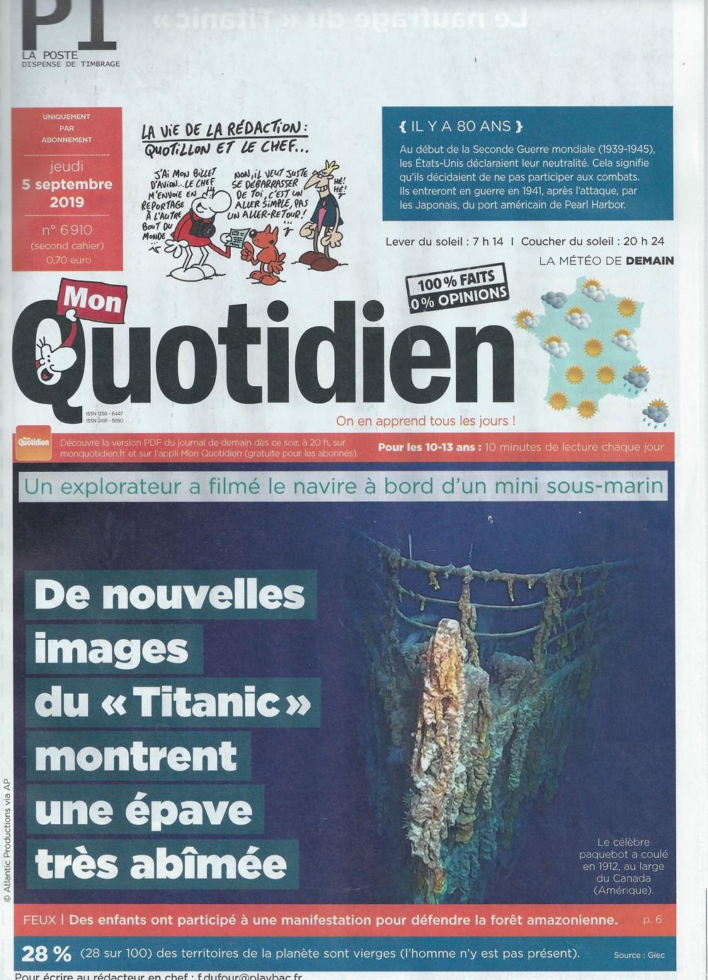 """Articles sur le Titanic dans """"Mon Quotidien"""" (2019) Quotid10"""