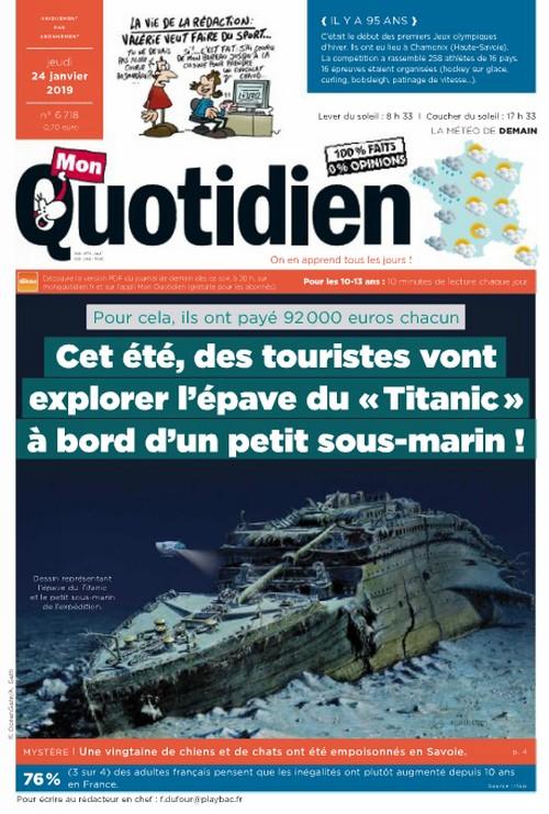 """Articles sur le Titanic dans """"Mon Quotidien"""" (2019) Quotid12"""